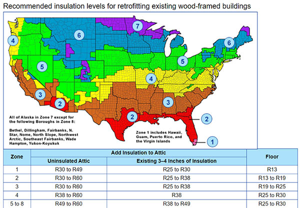 DOE U.S. Zone Map Recommended Insulation Levels