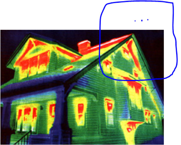 Infrared House Photo Showing Insulation Deficiencies