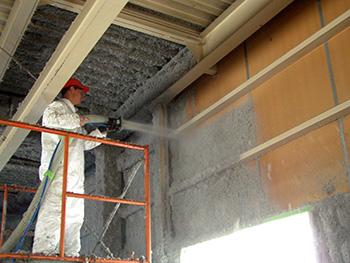 Fiberlite SATAC Exposed Cellulose Insulation Application