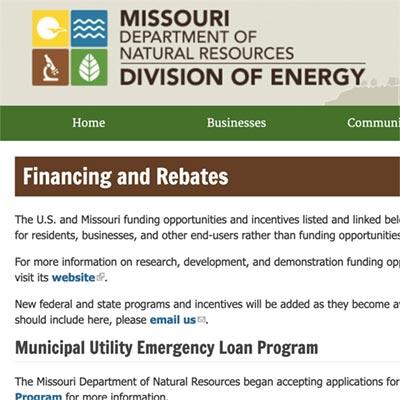 Missouri Dept of Natural Resources Div of Energy Incentives Link